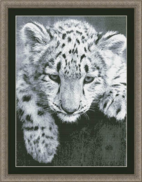 Black and White Snow Leopard Cub Counted Cross Stitch Pattern