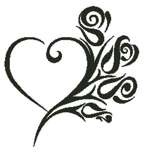 Tribal Heart and Roses Counted Cross Stitch Pattern-PDF Download