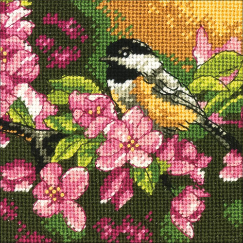 Chickadee in Pink - Dimensions Mini Needlepoint Kit