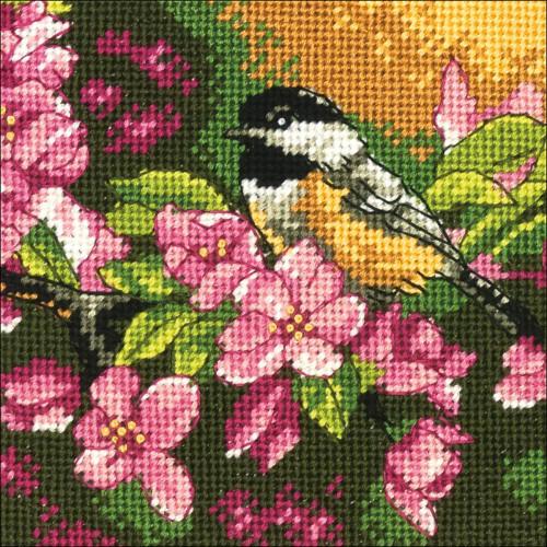 Chickadee in Pink - Dimensions Mini Needlepoint Kit