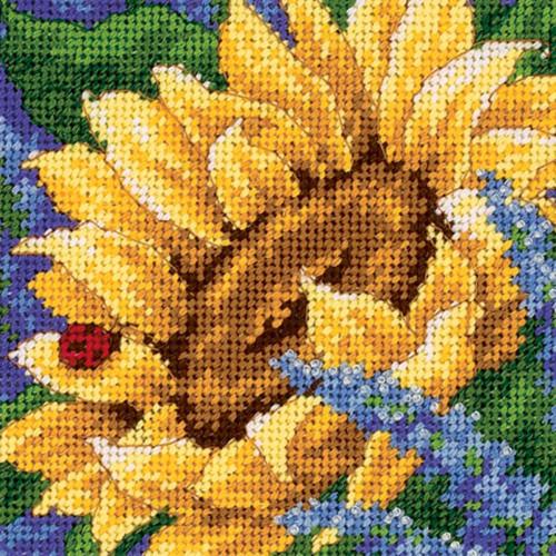 Sunflower and Ladybug Dimensions Mini Needlepoint Kit