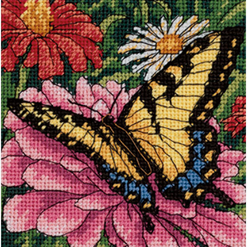 Butterfly on Zinnia - Dimensions Mini Needlepoint Kit