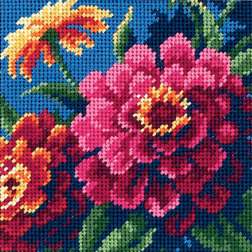 Zinnias - Dimensions Mini Needlepoint Kit