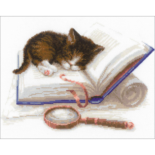 Kitten on the Book - Riolis Counted Cross Stitch Kit