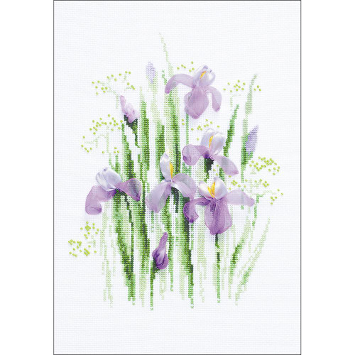 Spring Irises - Riolis Counted Cross Stitch Kit with Ribbon Embroidery