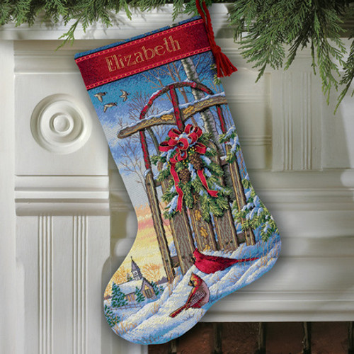 Christmas Sled Stocking - Dimensions Gold Collection Counted Cross Stitch Kit