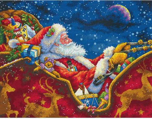 Santa's Midnight Ride - Dimensions Gold Collection Counted Cross Stitch Kit