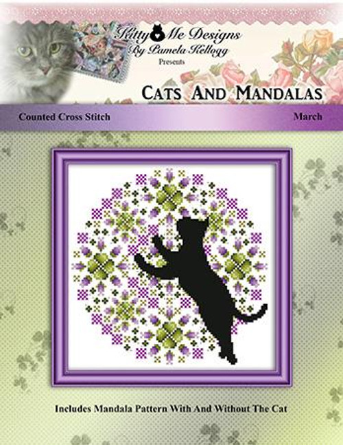 Cats and Mandalas March Counted Cross Stitch Pattern