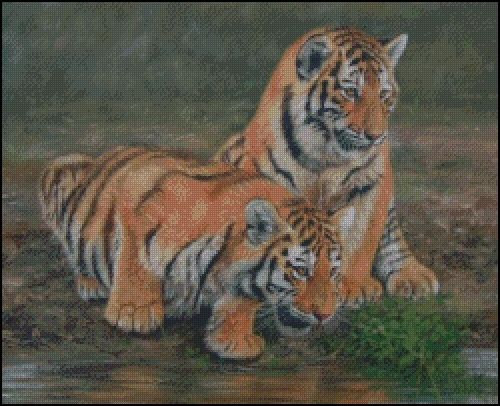 2 Tiger Cubs Counted Cross Stitch Pattern