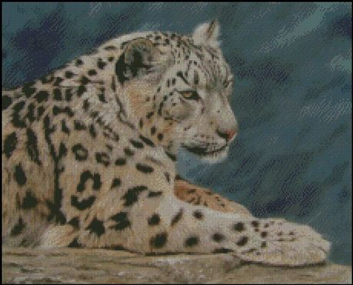 Resting Snow Leopard Counted Cross Stitch Pattern