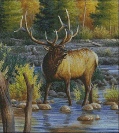 Elk in the River Counted Cross Stitch Pattern