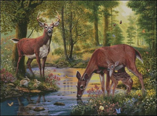Woodland Stream Counted Cross Stitch Pattern