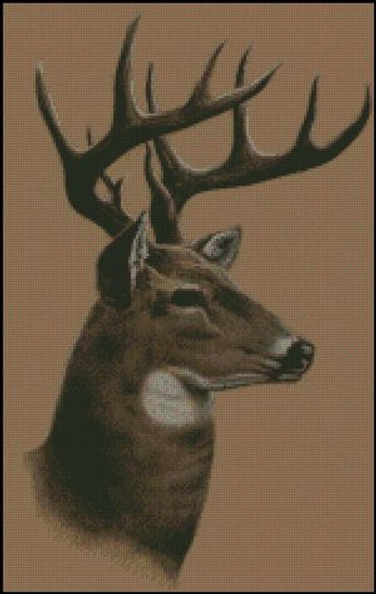 Whitetail Buck Deer Profile Counted Cross Stitch Pattern