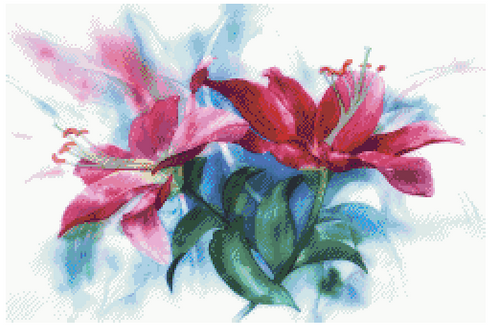 Watercolor Lilies Counted Cross Stitch Pattern - PDF Download