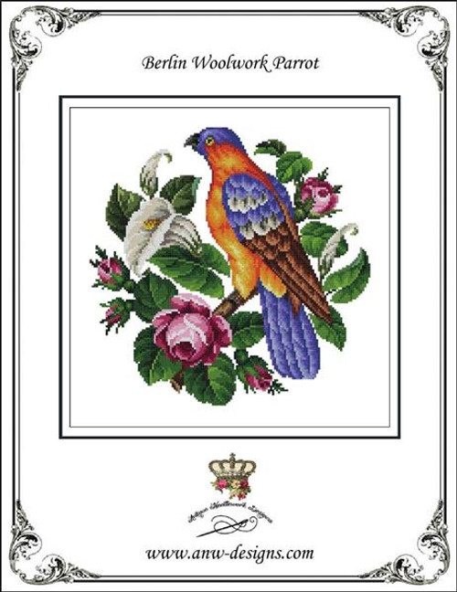 Berlin Woolwork Parrot Counted Cross Stitch Pattern