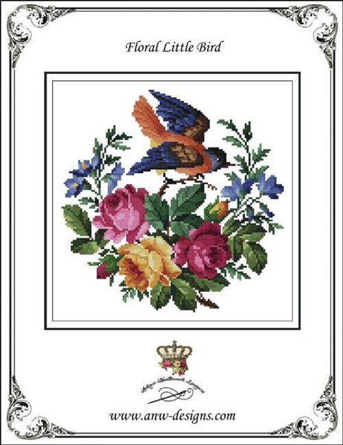 Floral Little Bird Counted Cross Stitch Pattern