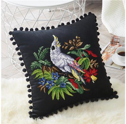 Antique Berlin Floral Cockatoo Counted Cross Stitch Pattern