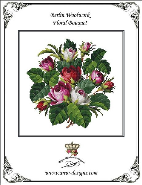 Berlin Woolwork Floral Bouquet Counted Cross Stitch Pattern