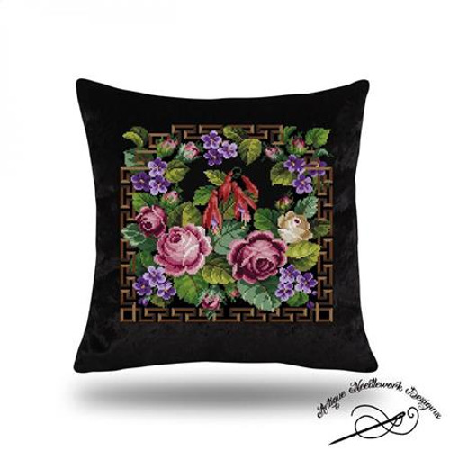 Antique Floral Tapestry Counted Cross Stitch Pattern