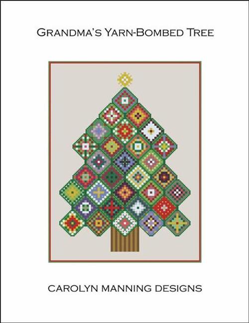 Grandma's Yarn-Bombed Tree Counted Cross Stitch Pattern