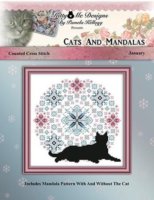 Cats and Mandalas January - Kitty & Me Designs Counted Cross Stitch Pattern