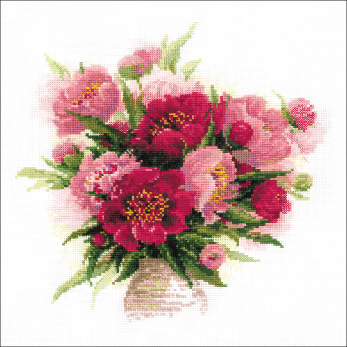 Peonies in a Vase - Riolis Counted Cross Stitch Kit