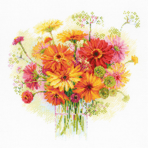 Watercolor Gerberas - Riolis Counted Cross Stitch Kit