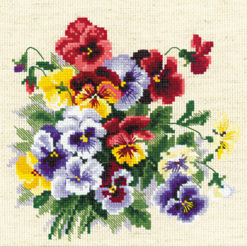 Pansy Medley - Riolis Counted Cross Stitch Kit