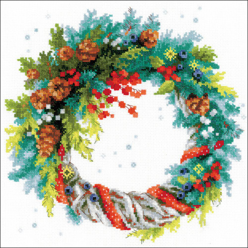 Wreath With Blue Spruce - Riolis Counted Cross Stitch Kit