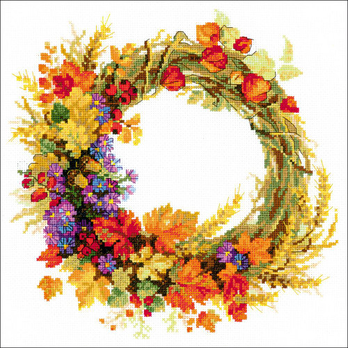 Wreath With Wheat - Riolis Counted Cross Stitch Kit