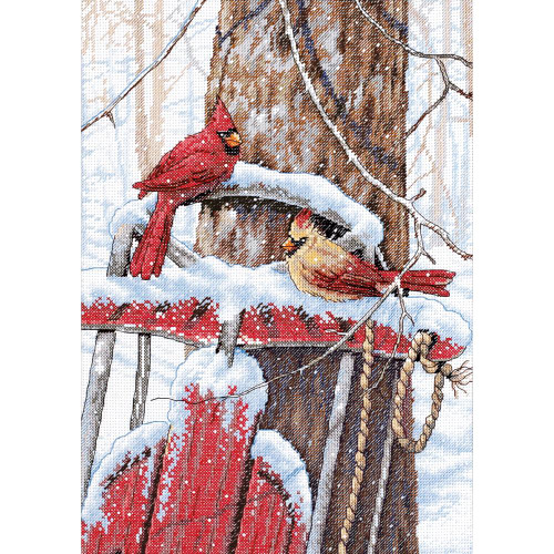 Cardinals on Sled - Dimensions Counted Cross Stitch Kit