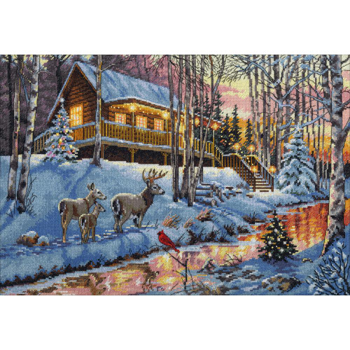Winter Cabin - Dimensions-The Gold Collection Counted Cross Stitch Kit