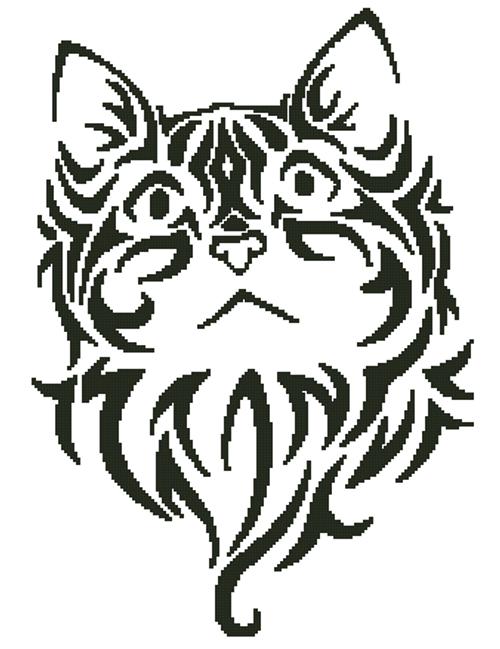 Tribal Kitten 3 Counted Cross Stitch Pattern - PDF Download - Fox Trails Needlework