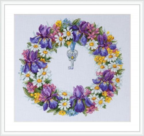 Wreath with Irises - Merejka Counted Cross Stitch Kit