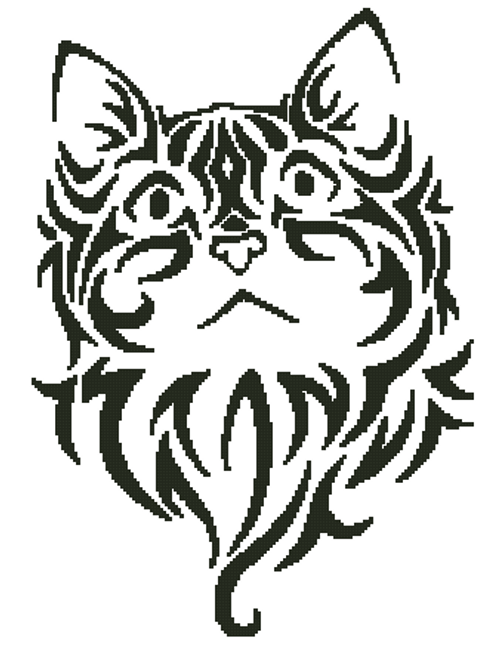 Tribal Kitten 3 Counted Cross Stitch Pattern-Paper Copy
