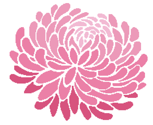 Chrysanthemum Silhouette Counted Cross Stitch Pattern - Paper Copy Shipped