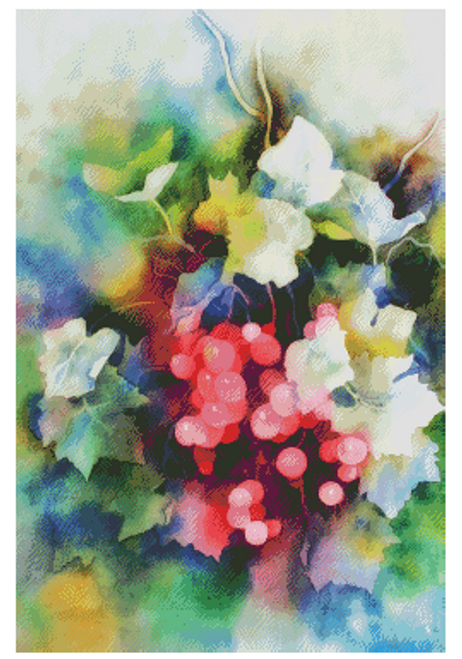Watercolor Berries Counted Cross Stitch Pattern - Paper Copy Shipped