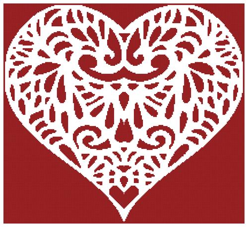 Filigree Heart 2 Counted Cross Stitch Pattern - Paper Copy Shipped
