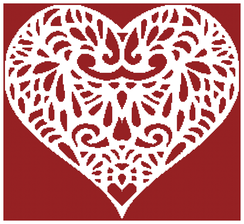 Filigree Heart 2 Counted Cross Stitch Pattern - Paper Copy Shipped
