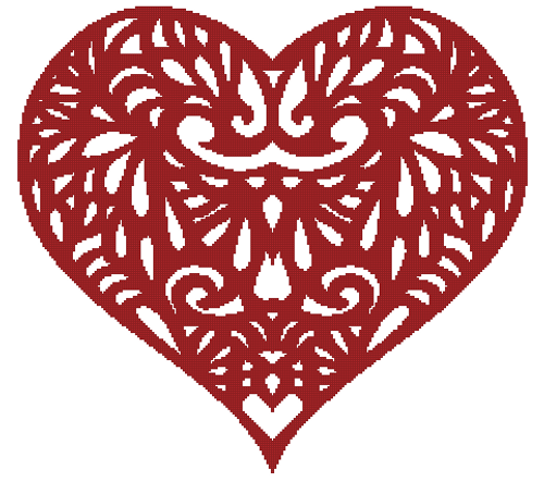 Filigree Heart Counted Cross Stitch Pattern - Paper Copy Shipped