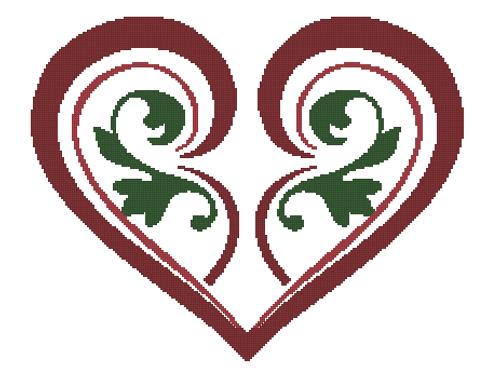 Stylized Heart Counted Cross Stitch Pattern -Paper Copy Shipped