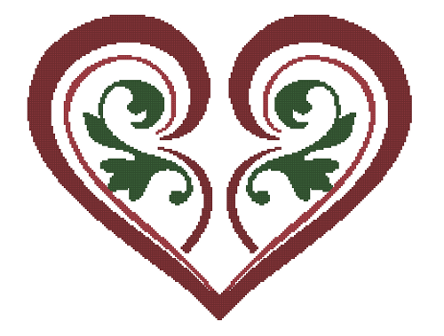 Stylized Heart Counted Cross Stitch Pattern -Paper Copy Shipped
