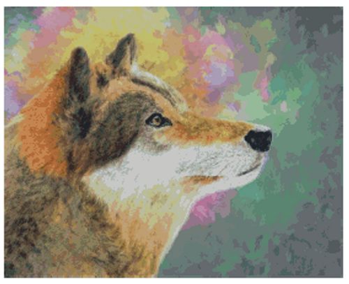 Abstract Wolf Counted Cross Stitch Pattern - Paper Copy Shipped