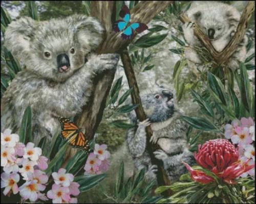 Koalas Counted Cross Stitch Pattern