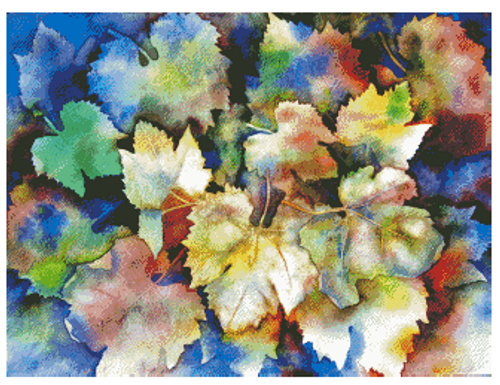 Watercolor Leaves Counted Cross Stitch Pattern - Paper Copy Shipped