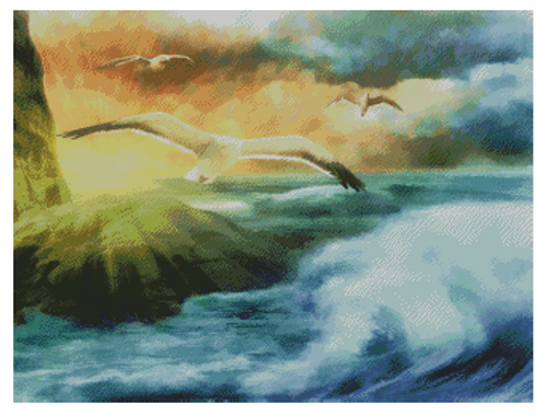 Seagulls in Flight Counted Cross Stitch Pattern