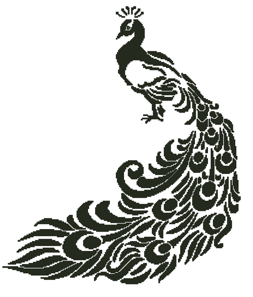 Peacock Silhouette Counted Cross Stitch Pattern