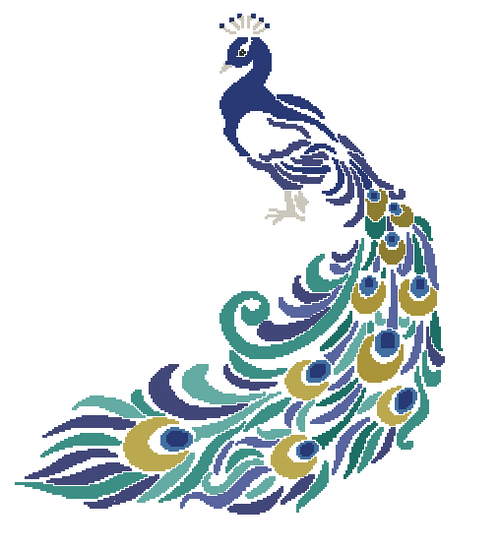 Peacock Silhouette in Color Counted Cross Stitch Pattern