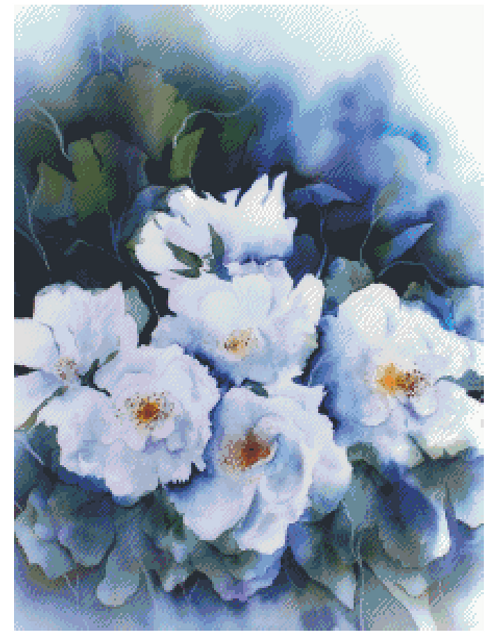 Watercolor Flowers Counted Cross Stitch Pattern - PDF Download