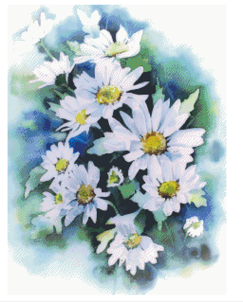 Watercolor Daisies Counted Cross Stitch Pattern